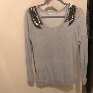 Maurice's bedazzled shoulder grey blouse, Medium